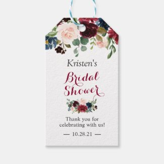 Burgundy Blush Blue Floral Bridal Shower Favour Gift Tags