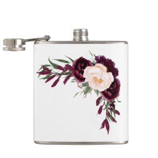 burgundy blush flowers hip flask