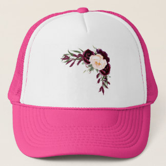 burgundy blush flowers trucker hat