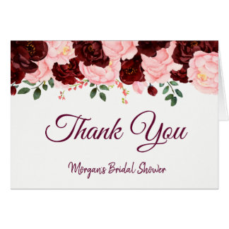 Burgundy Blush Pink Roses Bridal Shower Thank You Card