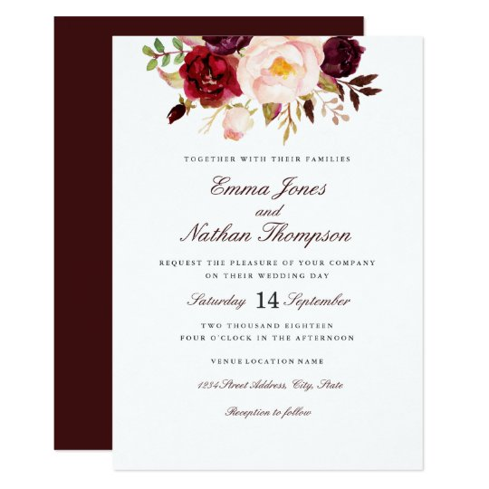 Burgundy Blush Watercolor Floral Wedding Card