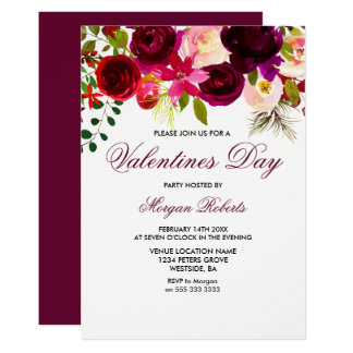 Burgundy Boho Script Rose Valentines Day Invite