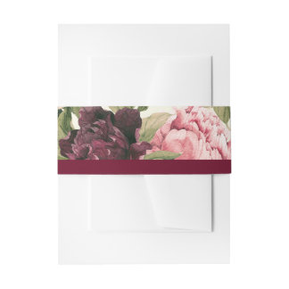 Burgundy Bouquet Belly Bands Invitation Belly Band