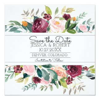 Burgundy Bouquet Save the Date Card