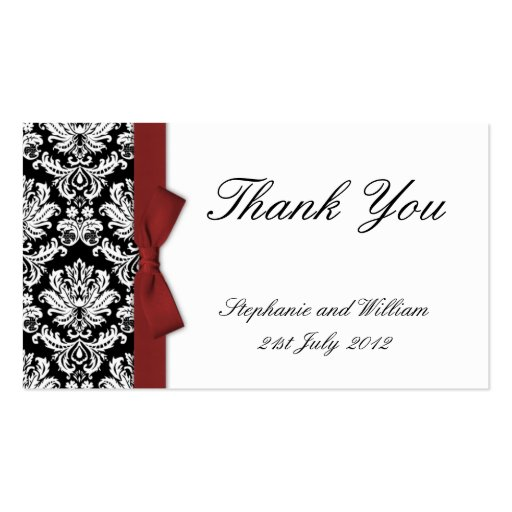 Burgundy Bow Damask Thank You Cards Business Card Template