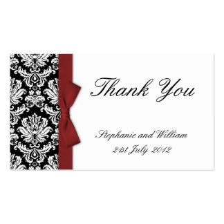 Burgundy Bow Damask Thank You Cards Pack Of Standard Business Cards