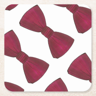 Burgundy Bow Tie Bowtie Groom Prom Wedding Coaster