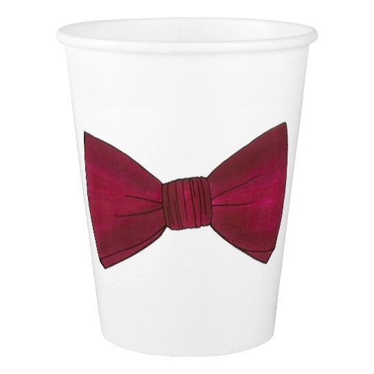 Burgundy Bow Tie Bowtie Groom Prom Wedding Cups Paper Cup