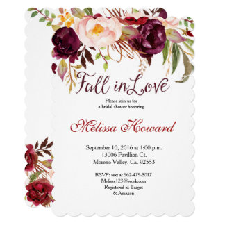 Burgundy Bridal Shower Fall in Love invitation