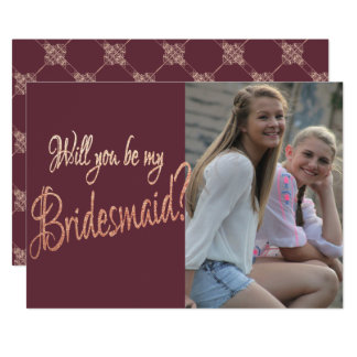 Burgundy Bridesmaid Bridal Ask | Blush Rose Gold | Card