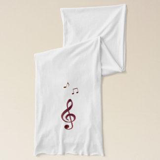 Burgundy Bronze Music Clefs Musical Notes Scarf