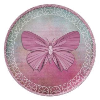 Burgundy Butterfly Decorative Plate