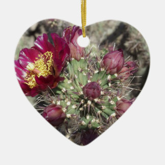 Burgundy Cactus Flowers Ceramic Ornament