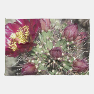 Burgundy Cactus Flowers Kitchen Towel