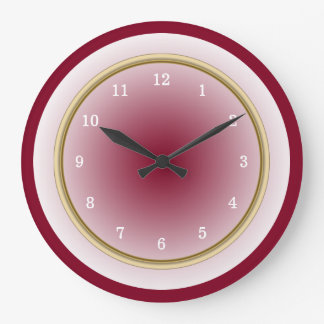 Burgundy Cool White and Faux Gold Trim Large Clock