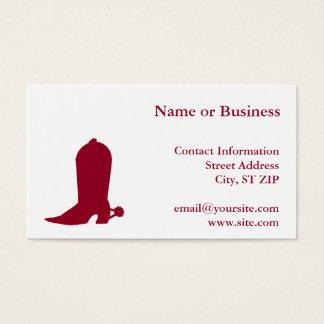 Burgundy Cowboy Boot Business Card