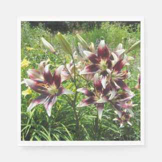Burgundy Creme Asiatic Lilies, Yellow Daylilies Paper Napkin