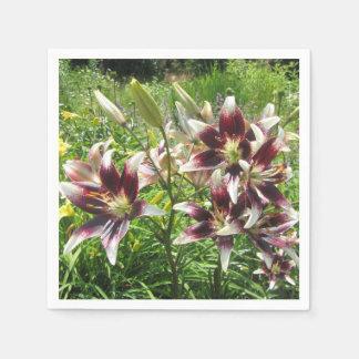 Burgundy Creme Asiatic Lily Garden Napkin