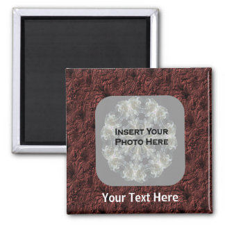 Burgundy Daisies Photo Square Magnet