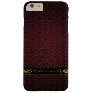 Burgundy Damask iPhone 6 Plus Monogram Case