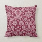 Burgundy Damask Pattern Throw Pillow