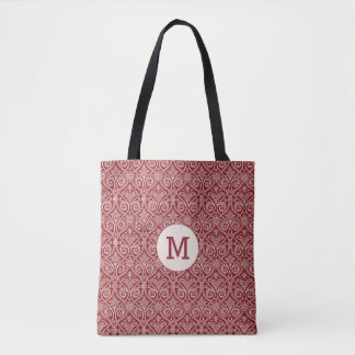 Burgundy damask pattern with monogram tote bag