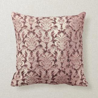 Burgundy Damask Pink Rose Gold Blush Sequin Pearl Throw Pillow