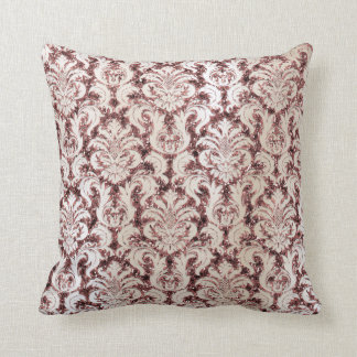 Burgundy Damask Pink Rose Gold Sequin Ivory Pearl Throw Pillow
