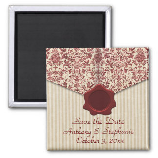 Burgundy Damask Save the Date Magnet