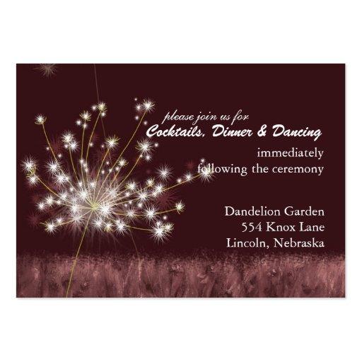 Burgundy Dandelion Wedding Reception (3.5x2.5) Business Card