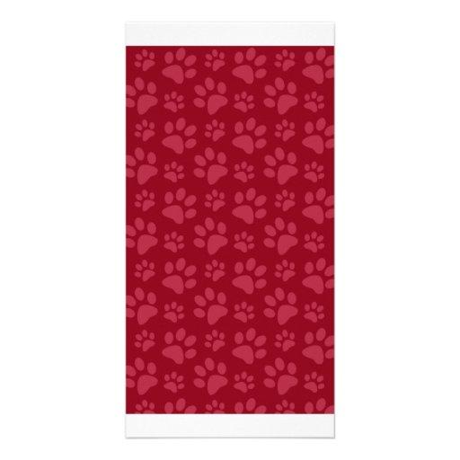 Burgundy dog paw print pattern personalized photo card