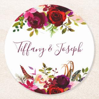 Burgundy Elegant Floral Spring Garden Wedding Round Paper Coaster