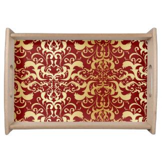 burgundy,faux gold,damask,vintage,elegant,chic,pat serving tray
