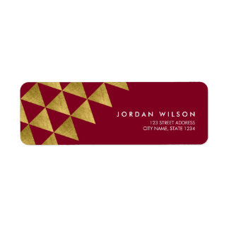 Burgundy Faux Gold Triangle Modern Address Return Address Label