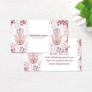 Burgundy faux rose gold hamsa hand floral Yoga Business Card