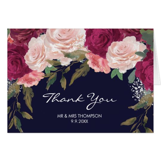 Burgundy floral and navy wedding thank you card