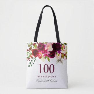 Burgundy Floral Boho 100th Birthday Party Tote Bag