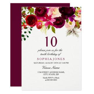 Burgundy Floral Boho 10th Birthday Party Invite