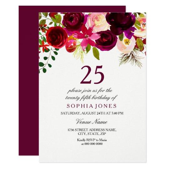 Burgundy Floral Boho 25th Birthday Party Invite