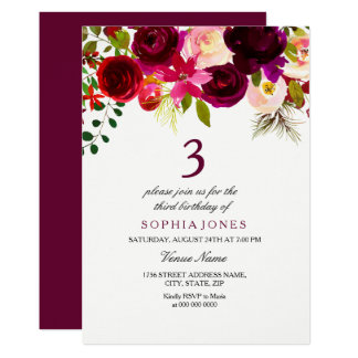 Burgundy Floral Boho 3rd Birthday Party Invite