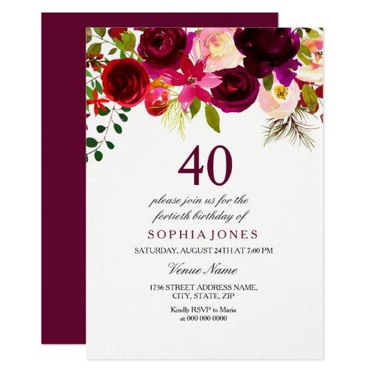 Burgundy Floral Boho 40th Birthday Party Invite