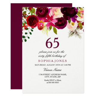 Burgundy Floral Boho 65th Birthday Party Invite