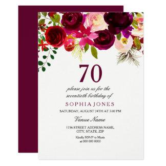 Burgundy Floral Boho 70th Birthday Party Invite