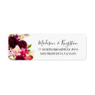 Burgundy Floral Boho Return Address Label