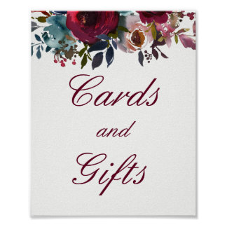 Burgundy Floral Cards And Gifts Wedding Poster