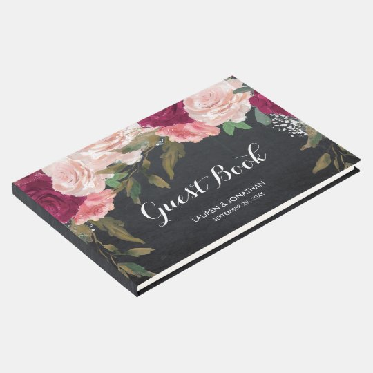 Burgundy floral chalkboard wedding guest book