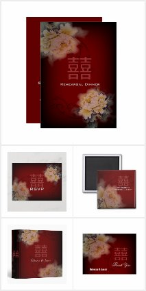 Burgundy floral Chinese wedding invitations