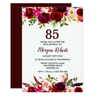 Burgundy Floral Elegant 85th Birthday Party Invite