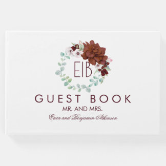 Burgundy Floral Elegant Wedding Guest Book