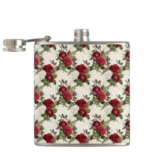 Burgundy Floral Gifts Hip Flask